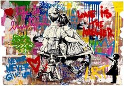 Work Well Together by Mr. Brainwash - Original Painting on Box Board sized 32x22 inches. Available from Whitewall Galleries